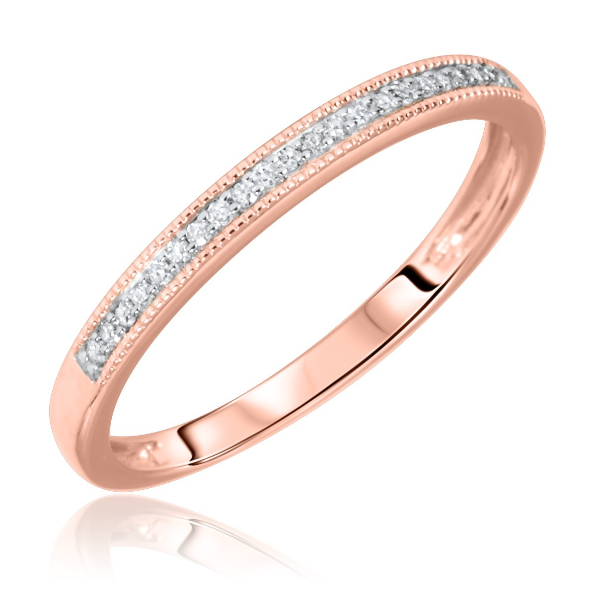 1/15 Carat T.W. Round Cut Diamond Ladies Wedding Band 14K Rose Gold