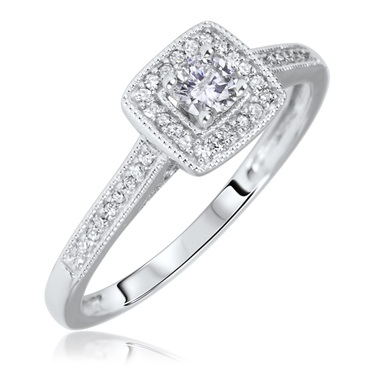 1/5 Carat T.W. Round Cut Diamond Ladies Engagement Ring 14K White Gold