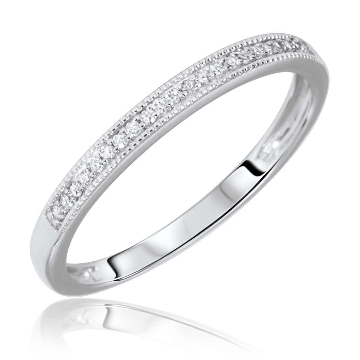 1/15 Carat T.W. Round Cut Diamond Ladies Wedding Band 14K White Gold