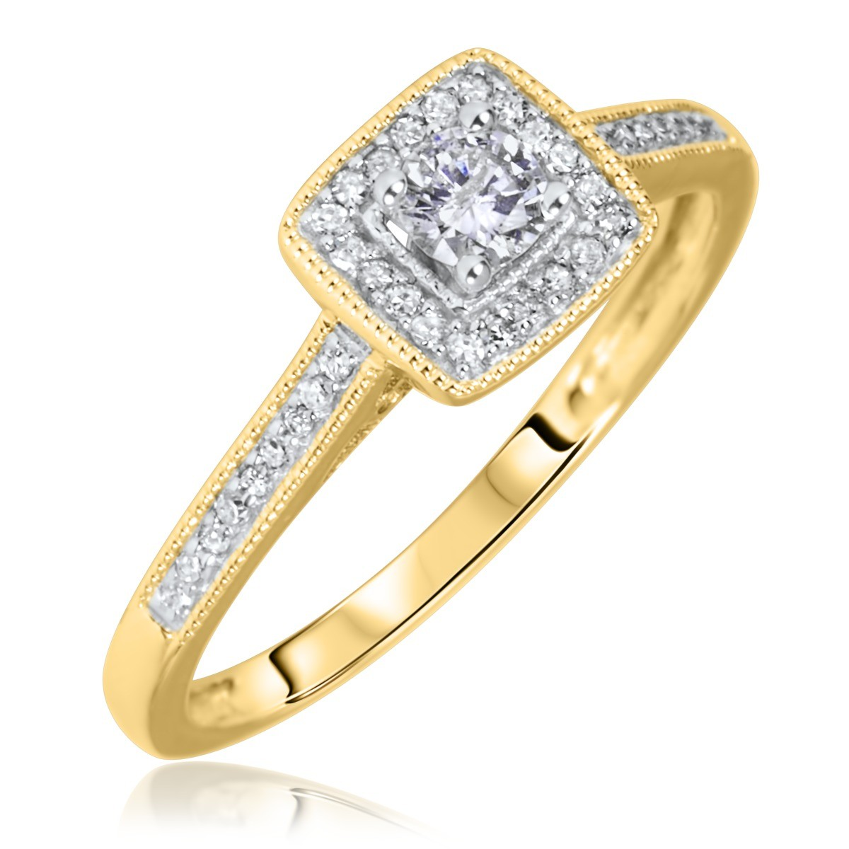 1/5 Carat T.W. Round Cut Diamond Ladies Engagement Ring 10K Yellow Gold