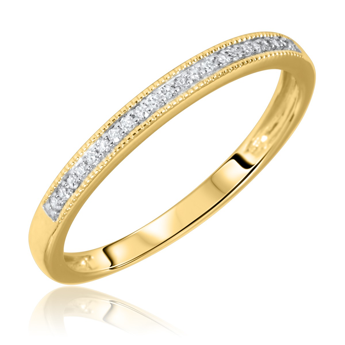 1/15 Carat T.W. Round Cut Diamond Ladies Wedding Band 10K Yellow Gold