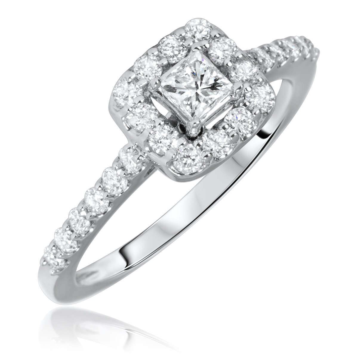 3/4 Carat T.W. Princess, Round Cut Diamond Ladies Engagement Ring 10K White Gold