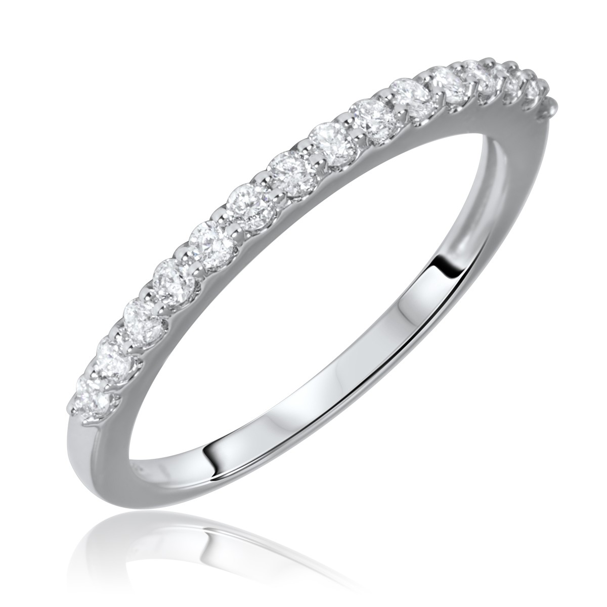 1/3 Carat T.W. Round Cut Diamond Ladies Wedding Band 10K White Gold