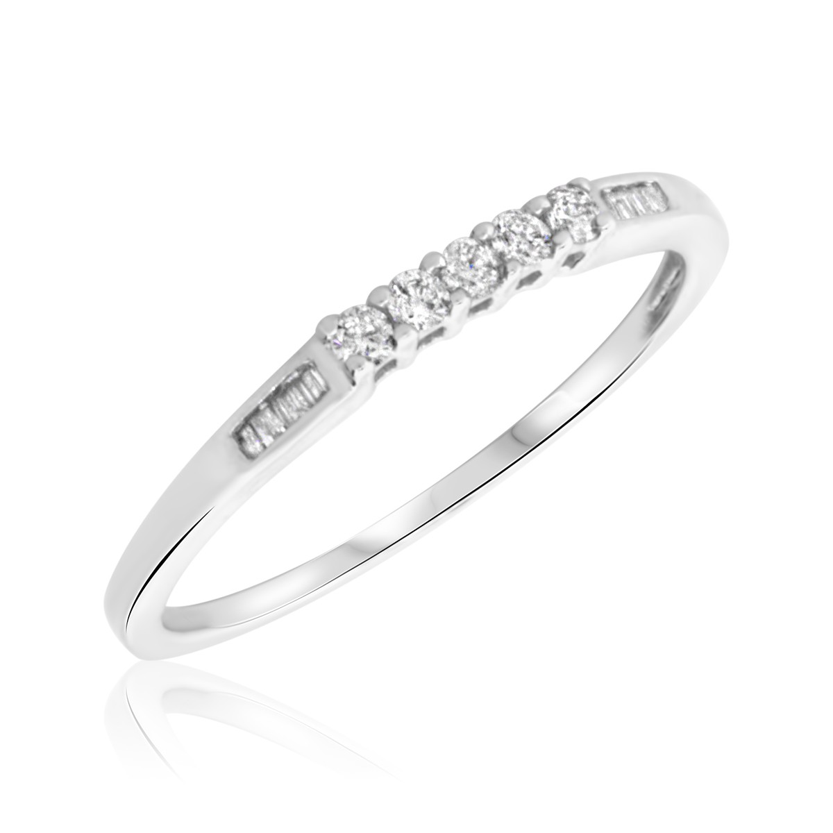 1/6 Carat T.W. Round, Baguette Cut Diamond Ladies Wedding Band 10K White Gold