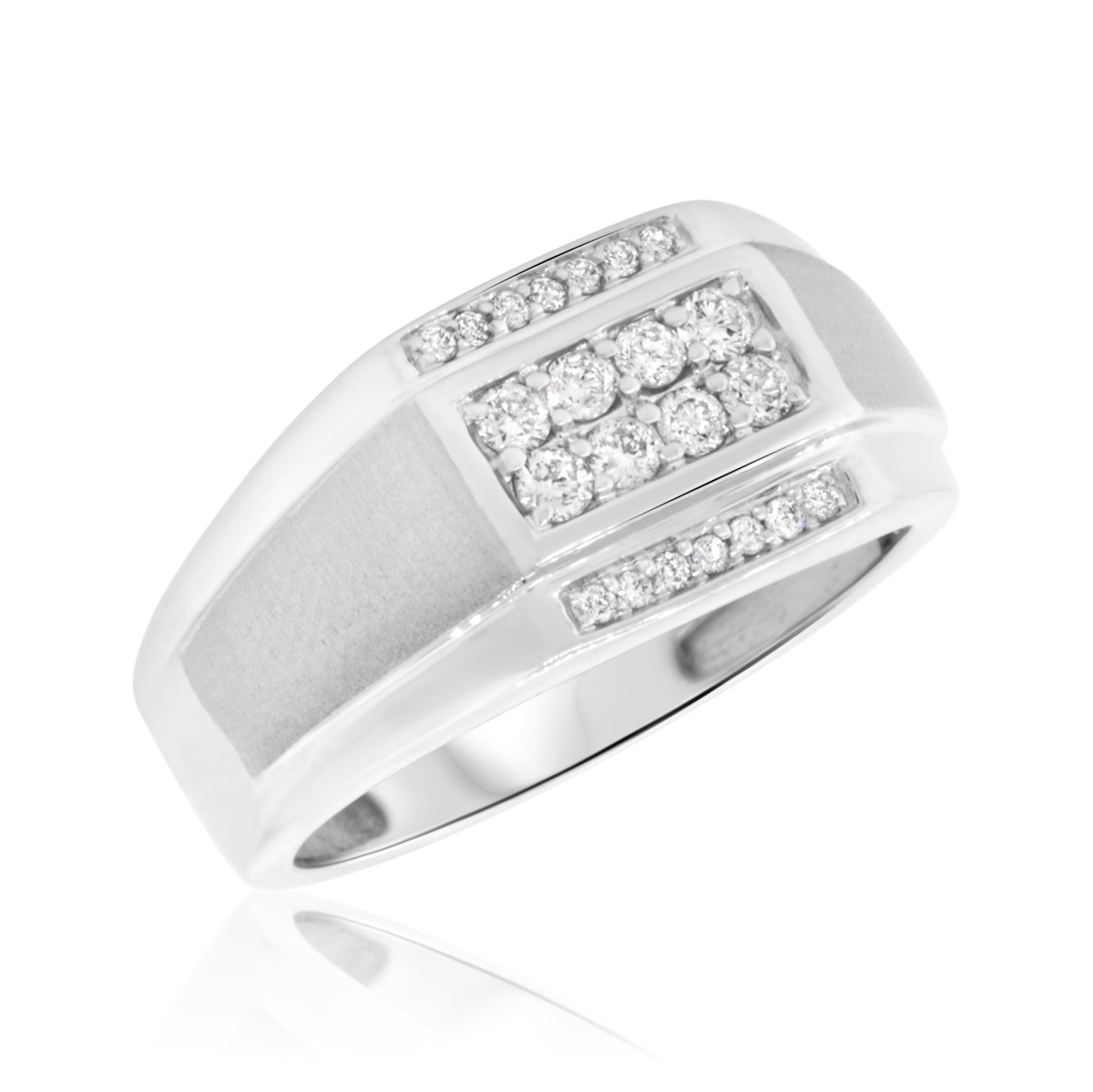 3/8 CT. T.W. Diamond Mens Wedding Band  14K White Gold