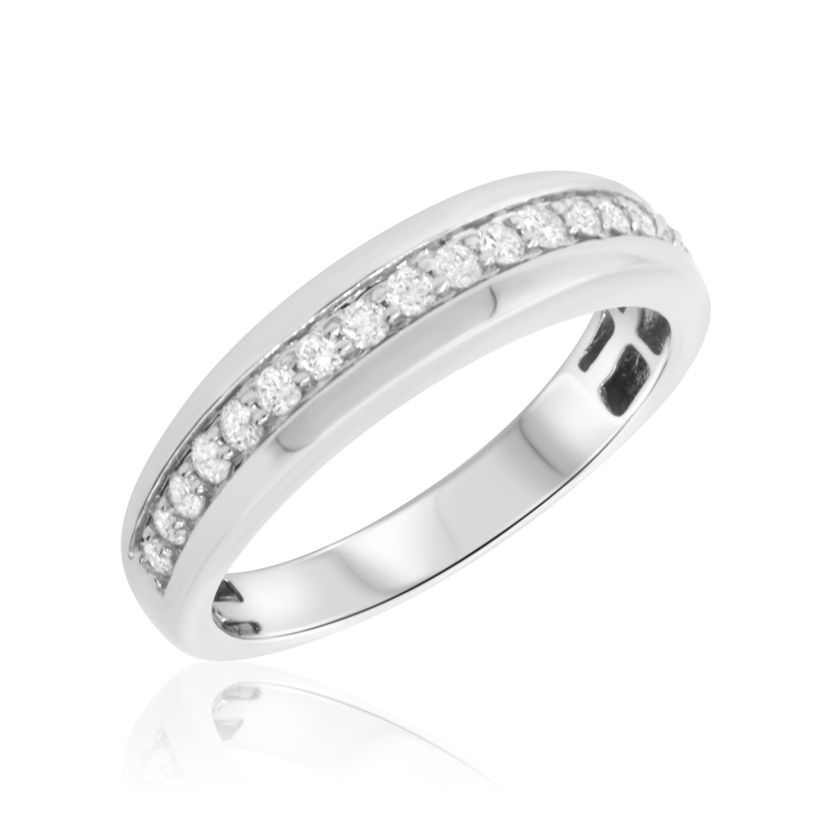 1/2 Carat T.W. Diamond Mens Wedding Band 10K White Gold