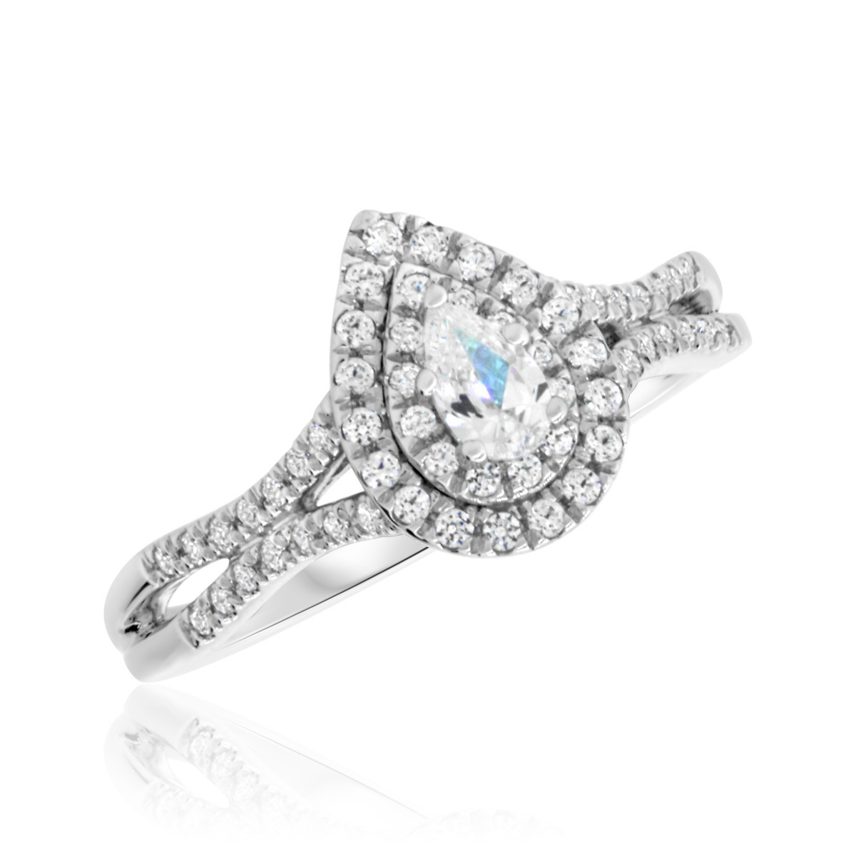 1/2 CT. T.W. Diamond Engagement Ring 14K White Gold