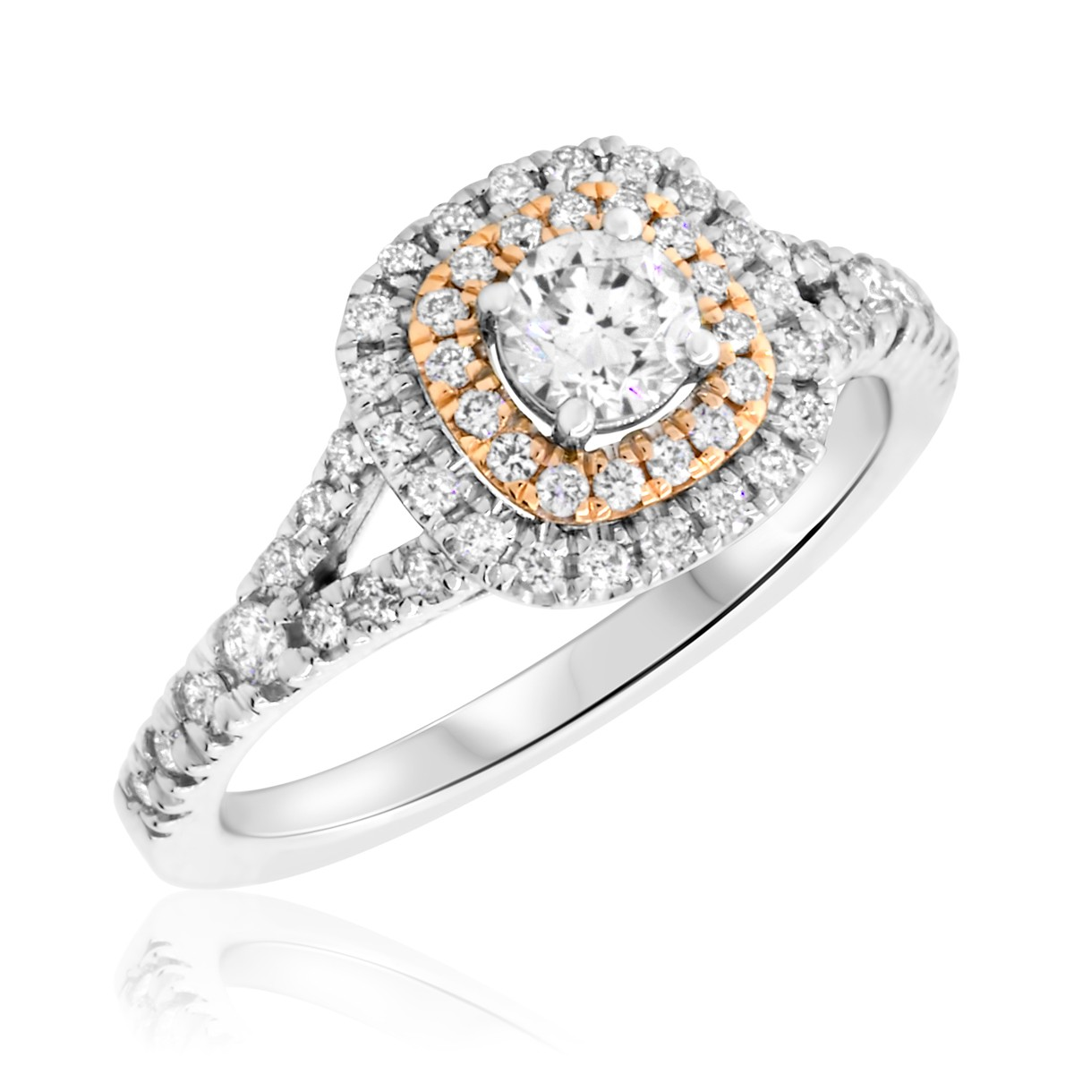 3/4 Carat T.W. Round Cut White and Rose Gold Diamond Engagement Ring 14K White Gold