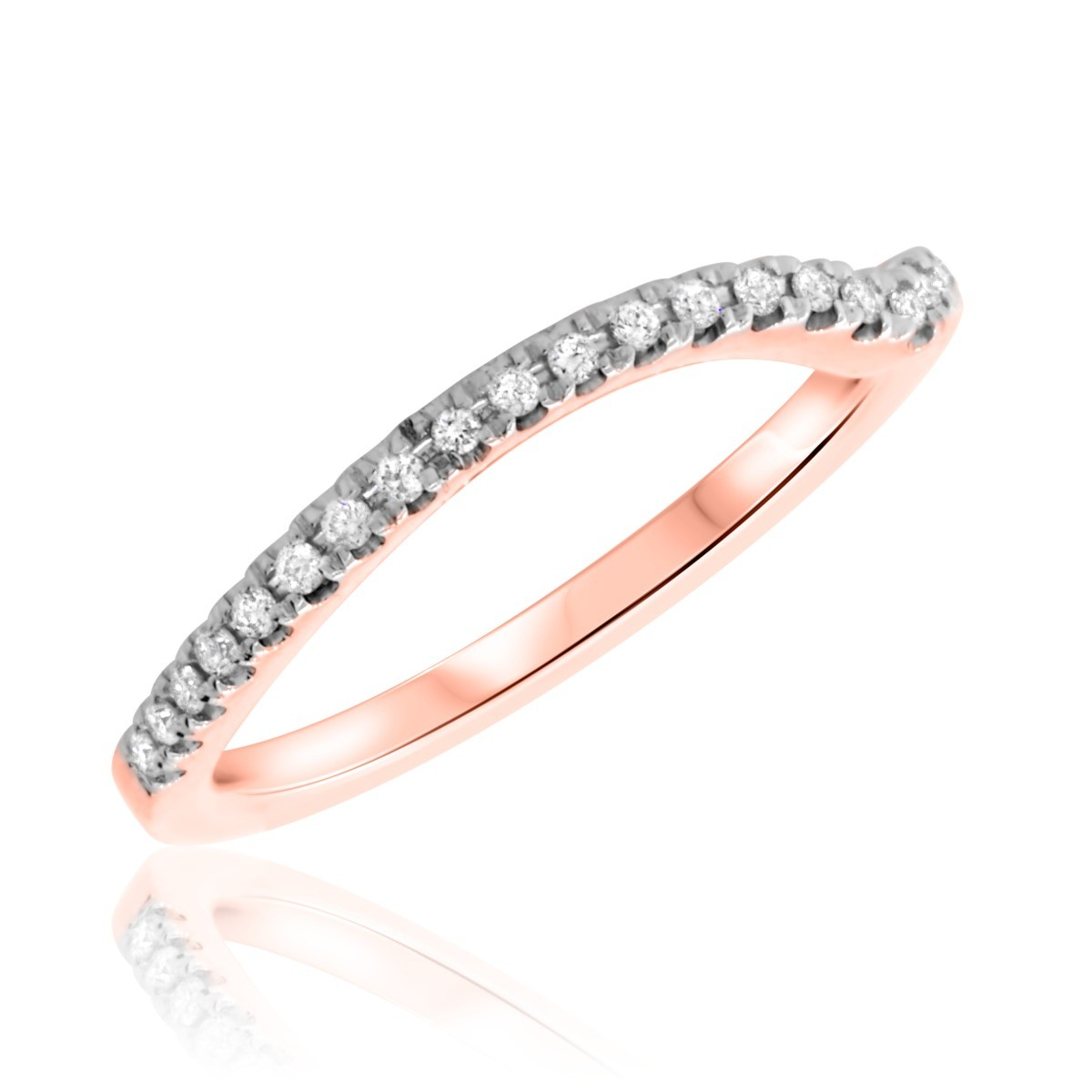 1/8 Carat T.W. Round Cut Diamond Ladies Wedding Band 10K Rose Gold