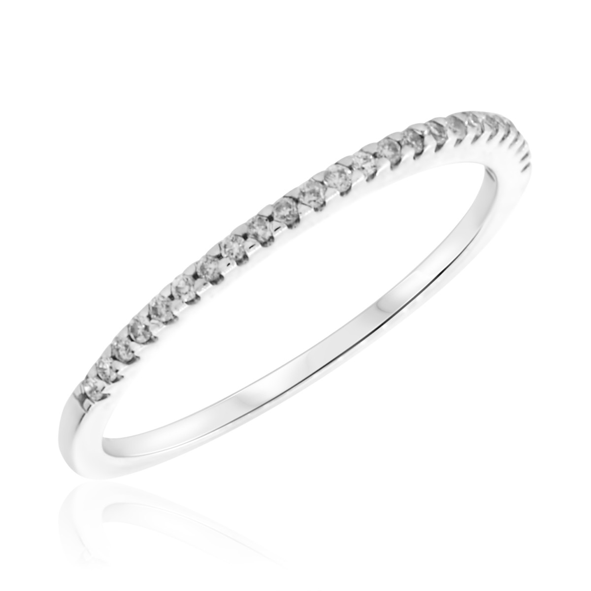 1/10 Carat T.W. Round Cut Diamond Ladies Wedding Band 14K White Gold