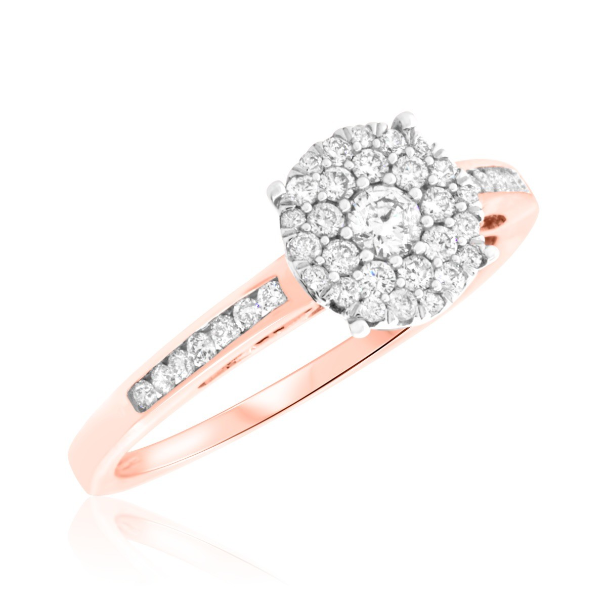 1/3 Carat T.W. Round Cut Diamond Ladies Engagement Ring 14K Rose Gold