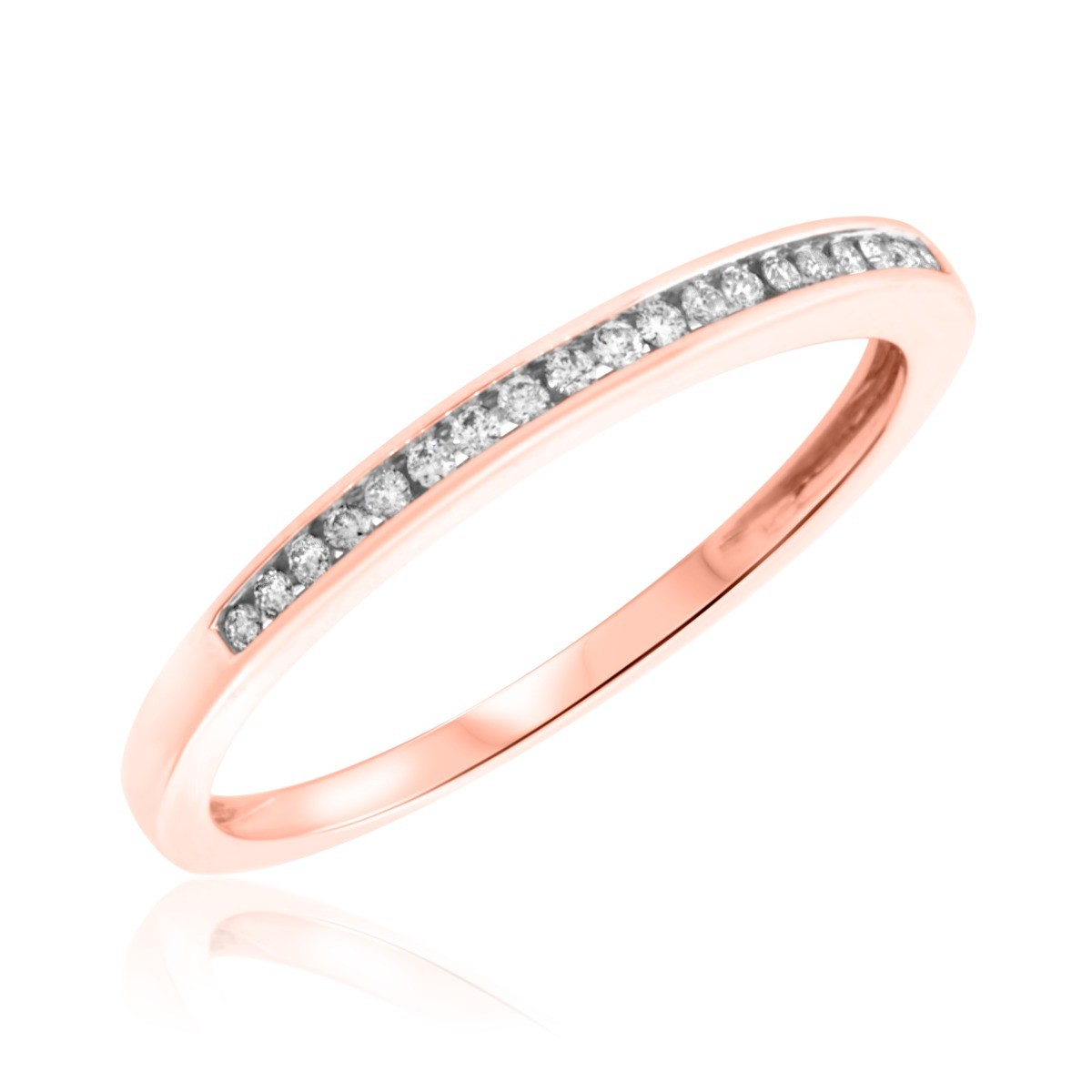 1/5 Carat T.W. Round Cut Diamond Ladies Wedding Band 14K Rose Gold