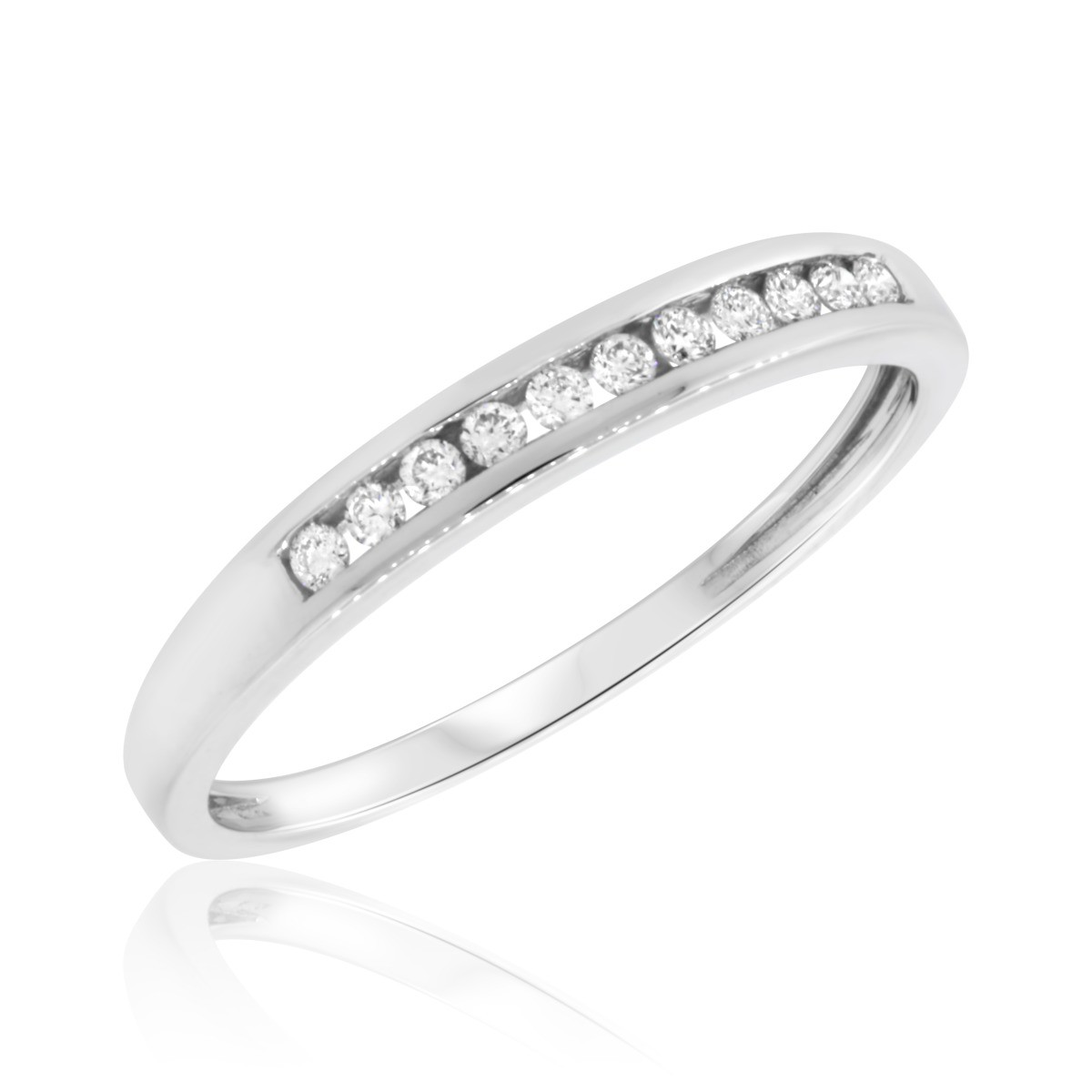 1/7 CT. T.W. Diamond Ladies Wedding Band  14K White Gold