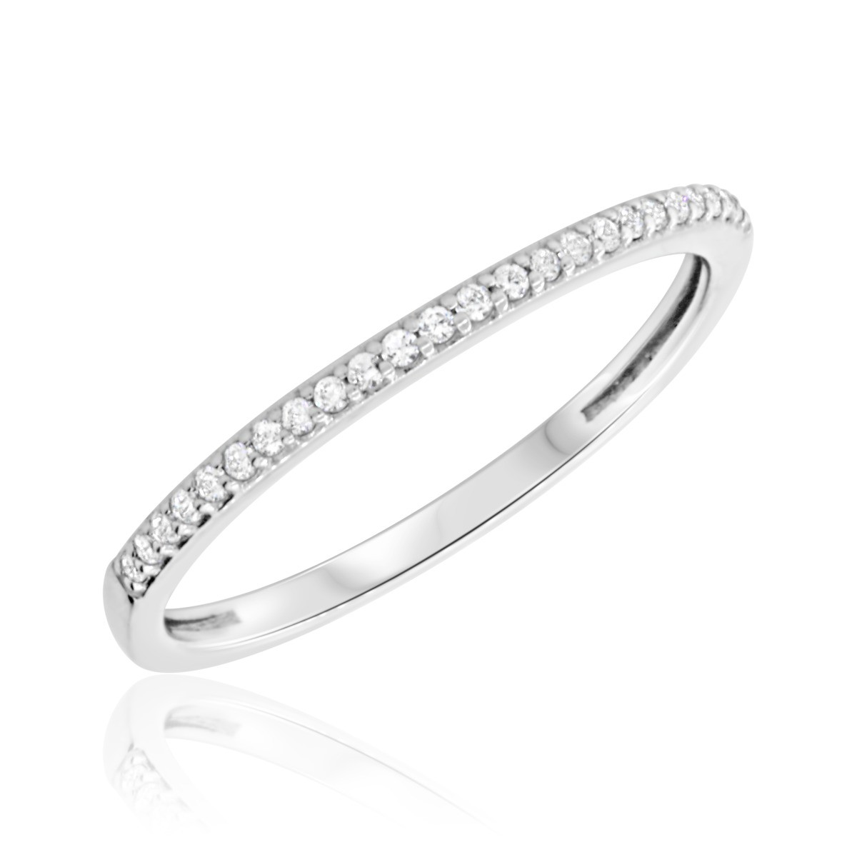 1/10 CT. T.W. Diamond Ladies Wedding Band 10K White Gold