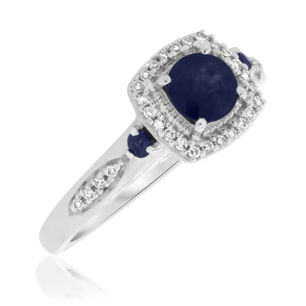 7/8 CT. T.W. Sapphire Engagement Ring 10K White Gold