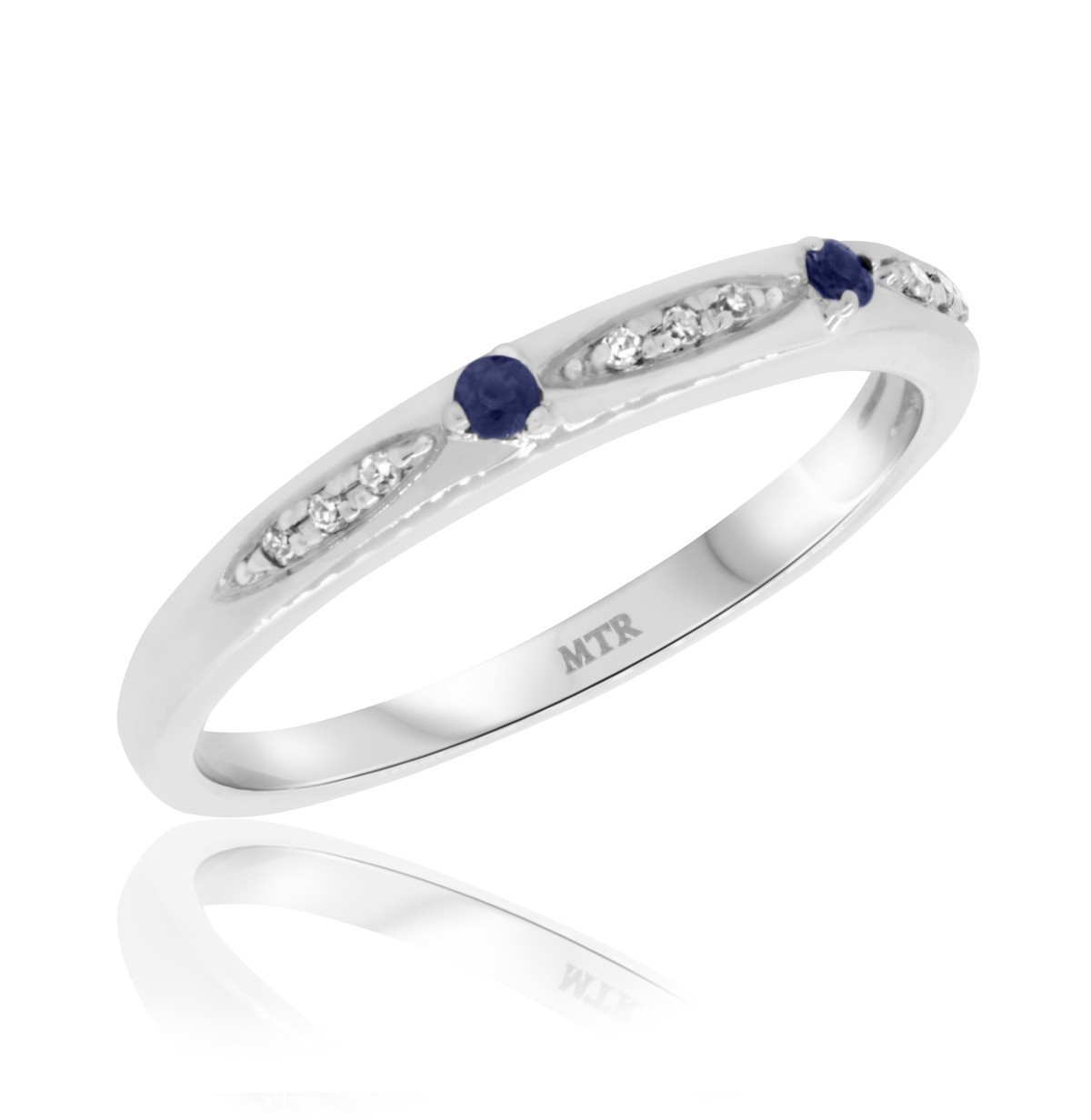 1/10 Carat T.W. Sapphire Ladies Wedding Band  10K White Gold